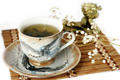 Cup of green tea and cash isolated tree on a white Royalty Free Stock Photography