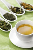 Cup of green tea. With different sorts of loose green tea in the background, selective focus royalty free stock image