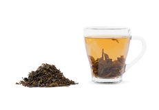 A cup of green tea. Dry tea leaves and a mug of a hot drink  on a white background. Chinese tea for relaxation Royalty Free Stock Image