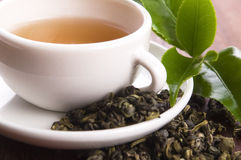 Cup of green tea with freh leaves Royalty Free Stock Photography