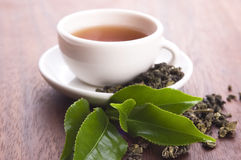 Cup of green tea with freh leaves Royalty Free Stock Images