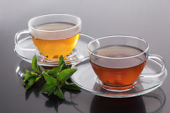 Cup with green tea and  fresh mint leaves Stock Photography
