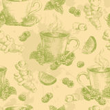 Cup of green tea with ginger mint and lemon seamless stock illustration