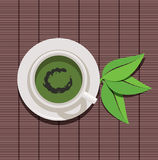 Cup of green tea and green leaves, vector  Stock Photos