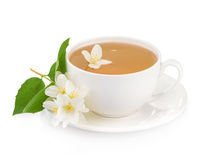 Cup of green tea with jasmine flowers isolated on white backgrou Royalty Free Stock Image