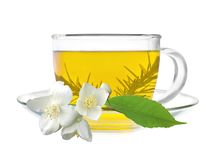 Cup of green tea with jasmine flowers Stock Photo