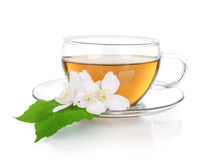 Cup of green tea with jasmine flowers Royalty Free Stock Photography