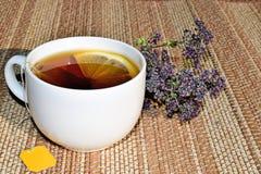 A Cup of green tea with lemon. Tea with medicinal herbs. stock photo