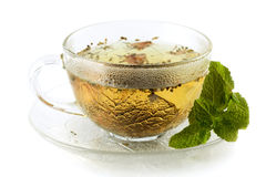 Cup of green tea with lemon and mint Stock Images