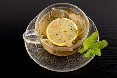 Cup of green tea with lemon and mint Stock Image