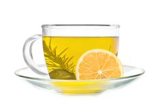 Cup of green tea with lemon slice Stock Photography