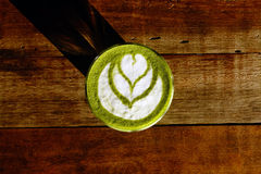 A cup of green tea matcha latte Stock Photography