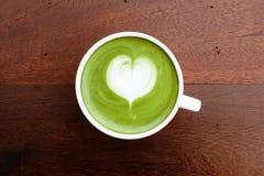 A cup of green tea matcha latte Royalty Free Stock Photos