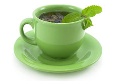 Cup with green tea with mint. Stock Images
