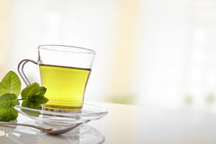 Cup of green tea with mint front diagonal view Royalty Free Stock Photos