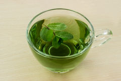 Cup green tea with mint. Royalty Free Stock Photography
