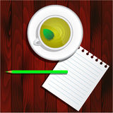 Cup of green tea, pencil, paper, eraser Stock Photography