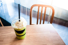 Cup of Green tea smoothies. Drink green tea,Iced Drink for someone Stock Image