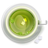 A cup of green tea with sugar. Stands on a saucer, top view. Vector format for your design Stock Image