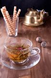 Cup of green tea and wafers Royalty Free Stock Photos