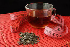Cup of green tea for weight loss. Royalty Free Stock Images