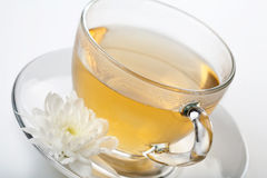 Cup of green tea and white flower Stock Photography