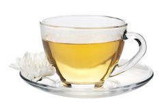 Cup of green tea and white flower isolated Royalty Free Stock Image