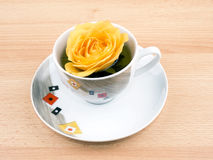 Cup of green tea with yellow rose Stock Photography