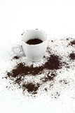 Cup and grinded coffee. Cup of coffee and grinded coffee Royalty Free Stock Image