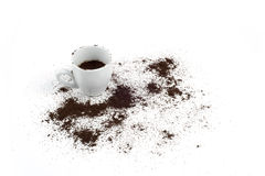 Cup and grinded coffee. Cup of coffee and grinded coffee Stock Photos