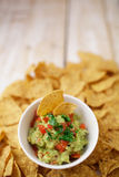 Cup with guacamole and chips Royalty Free Stock Image