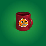 Cup halloween souvenir. Cup halloween celebration souvenir with sticker. Vector illustration Stock Photography