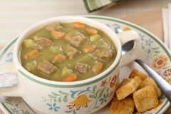 Cup of Ham and Pea Soup Royalty Free Stock Photography