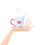 Cup in hand of coffee, tea Royalty Free Stock Photography