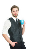 Cup in hand of man drink tea or coffee Stock Images
