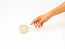Cup by hand. Stock Photos