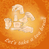 Cup, hands and words Let s take a tea break. Vector illustration with doodle cup, hands, cookies and words Let s take a tea break. Freehand drawing. Menu design Stock Images