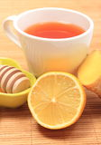 Cup of healthy tea with honey ginger and lemon Royalty Free Stock Photos
