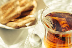 Cup of Healthy Tea over breakfast table Royalty Free Stock Photo