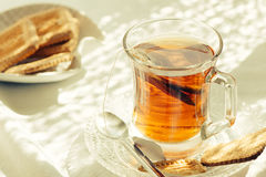 Cup of Healthy Tea over breakfast table Royalty Free Stock Photography