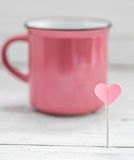 Cup with heart on a stick, Royalty Free Stock Photo