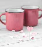 Cup with heart on a stick, Royalty Free Stock Image