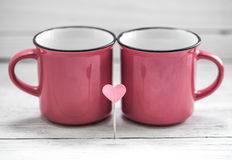 Cup with heart on a stick, Stock Photography