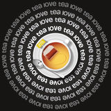 Cup of  heart in tea with tea bag Stock Images