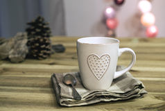 Cup with heart Stock Photography