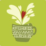 Cup with hearts Royalty Free Stock Images