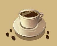 Cup heißer Kaffee und Kaffeebohnen Stockfotos
