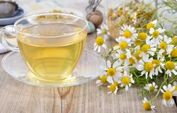 Cup of herbal chamomile tea. Royalty Free Stock Photos