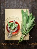 Cup of herbal sage tea with old strainer, books and bunch of herbs on rustic wooden background Royalty Free Stock Photography