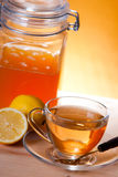Cup of herbal tea. With honey and lemon stock photos